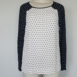 LOFT Ann Taylor navy/cream blouse-S